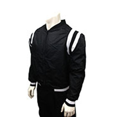 Collegiate Style Black Jacket with Lightweight Polyester Shell Black & White Stripe Insets, Side Seam Pockets and Full-Zipper Front