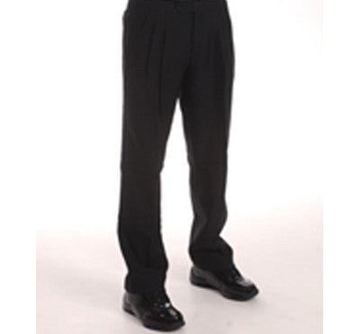 Women's 100% Black  Dacron Polyester Pleated Pants with Slash Pockets available in Black only