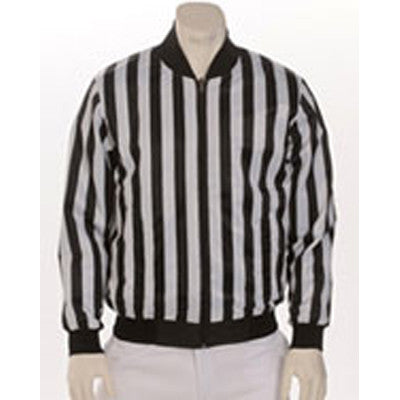 Football Jacket - Water Resistant - 100% Polyester Black & White Stripe Reversible to 100% Nylon Black Shell with Zipper Front, Slash Pockets