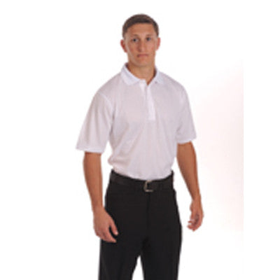100% Polyester Ultra-Mesh Three Button Placket Shirt with Quality Soft Ribbed Collar, Self-Hemmed Sleeves-No Pocket