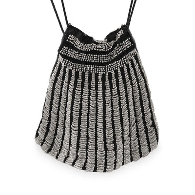 Gray Swag Beading, Glass Beads, Black Knit Handbag, Flapper, Black Drawstring Cord, Pouch