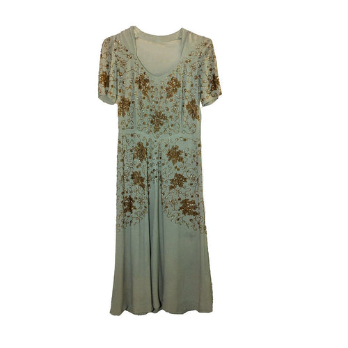 1930s Green Silk Crepe Gown, Gold beading, Short Sleeves