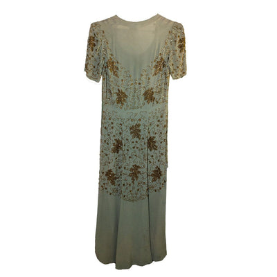 1930s Green Silk Crepe Gown, Gold beading, Short Sleeves 4