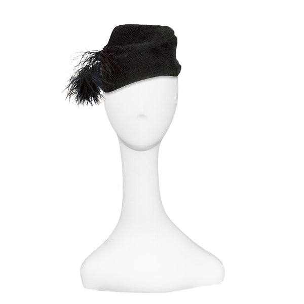 1940s Cocktail Hat, Black Velour Felt, Feathers & Beading, Hat Size 20