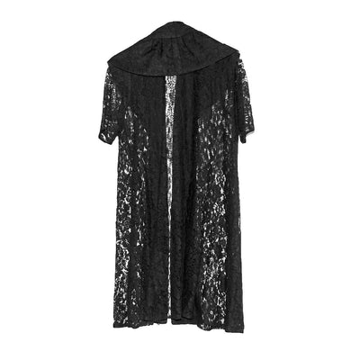 1950s Black Lace Evening Coat, Shawl Collar 3