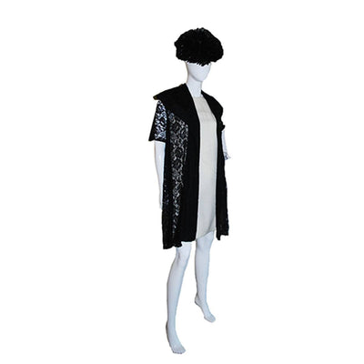 1950s Black Lace Evening Coat, Shawl Collar 2
