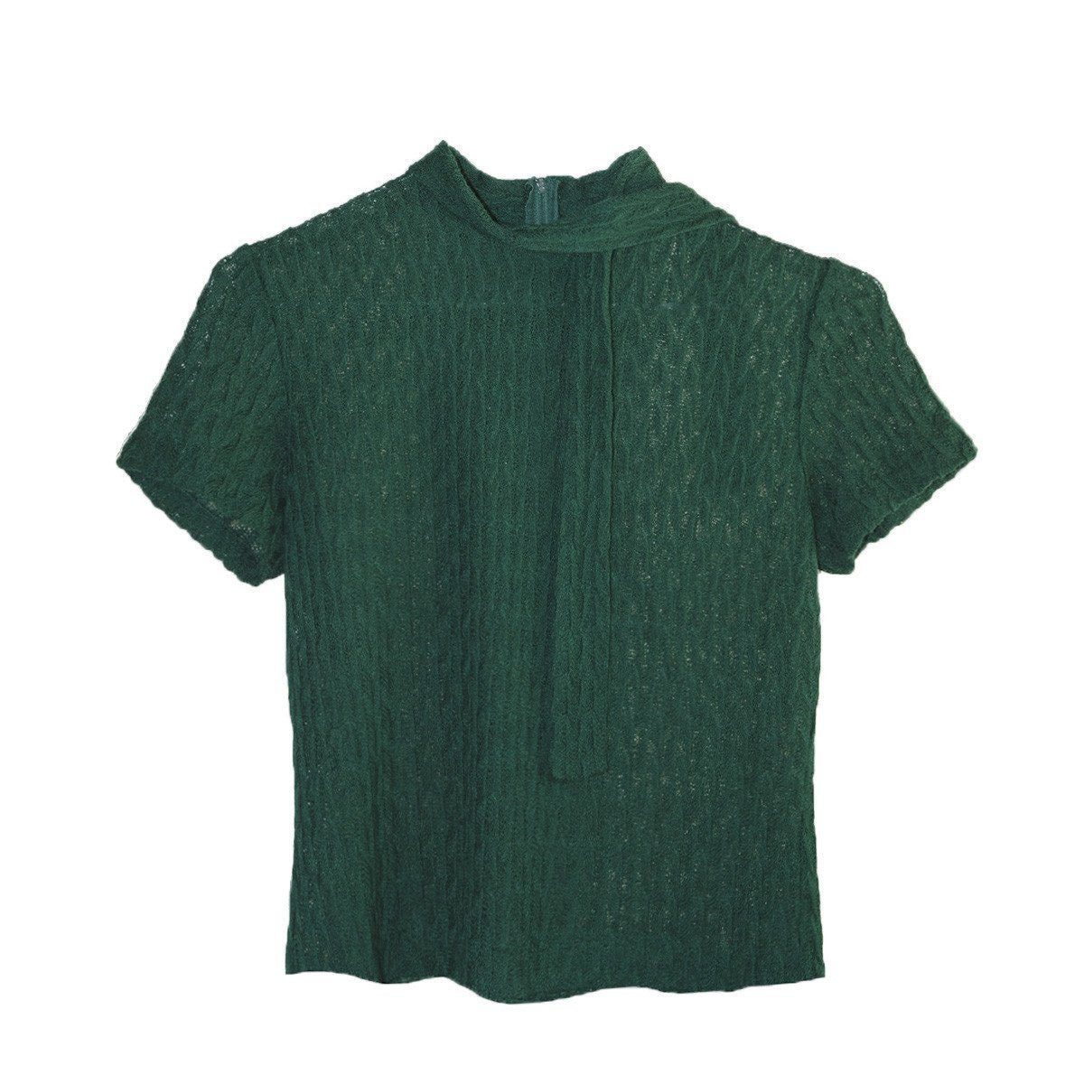 1950s Emerald Green Short Sleeve Sweater 6, Self Tie, Size Small
