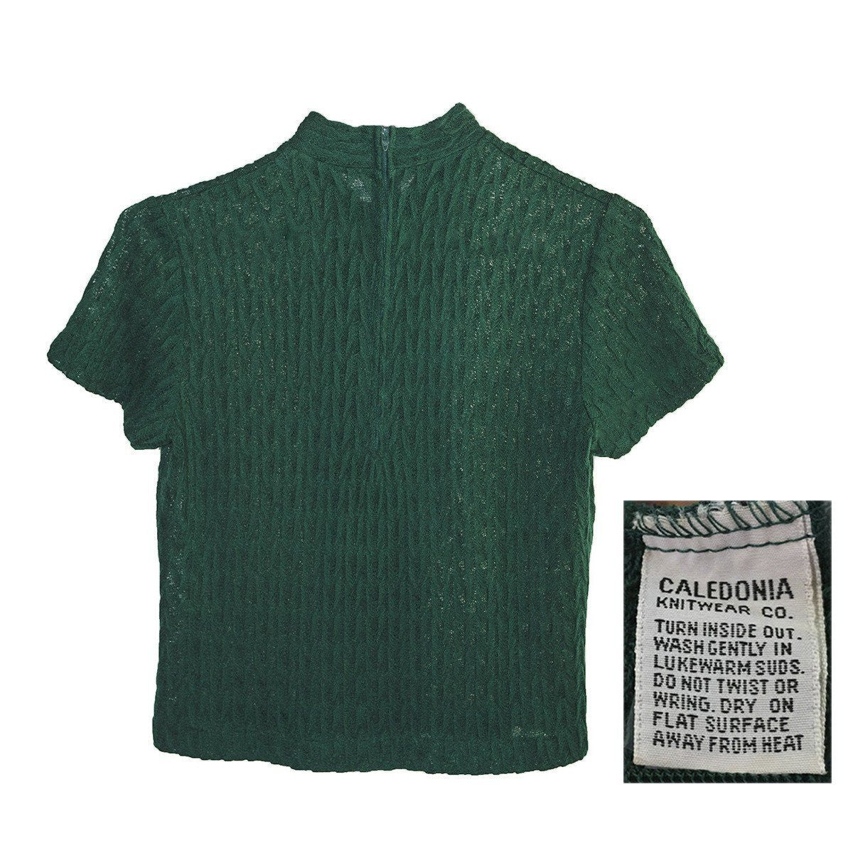 1950s Emerald Green Short Sleeve Sweater 4, Self Tie, Size Small