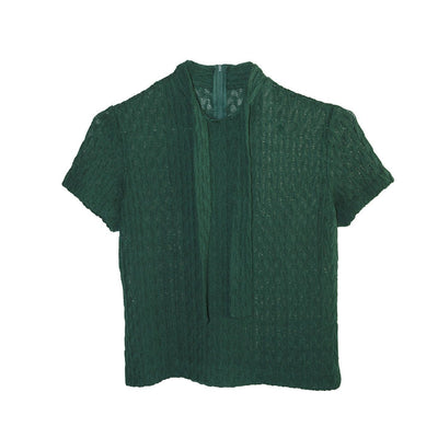 1950s Emerald Green Short Sleeve Sweater 2, Self Tie, Size Small