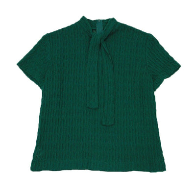 1950s Emerald Green Short Sleeve Sweater, Self Tie, Size Small