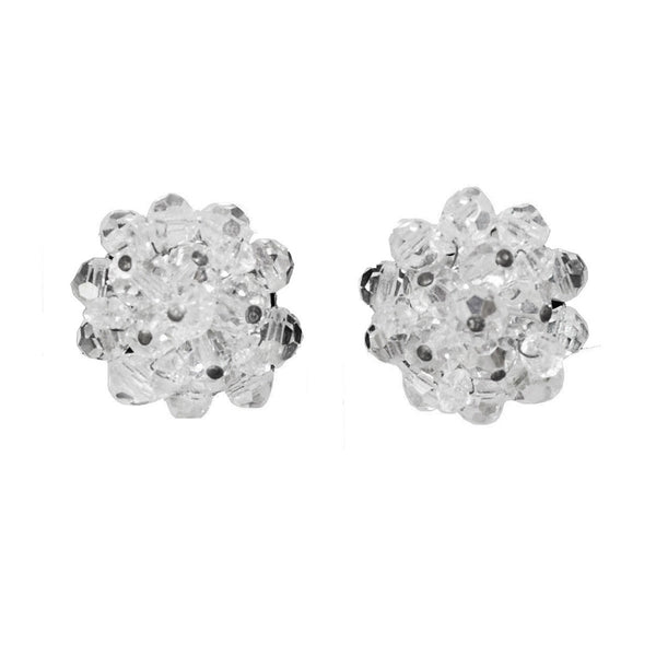 Mid-Century Crystal Cluster Bead Earrings