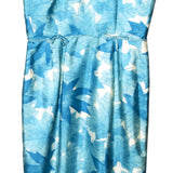 Vintage 1950s Sleeveless Sheath Dress, Blue & White Leaves, XXS