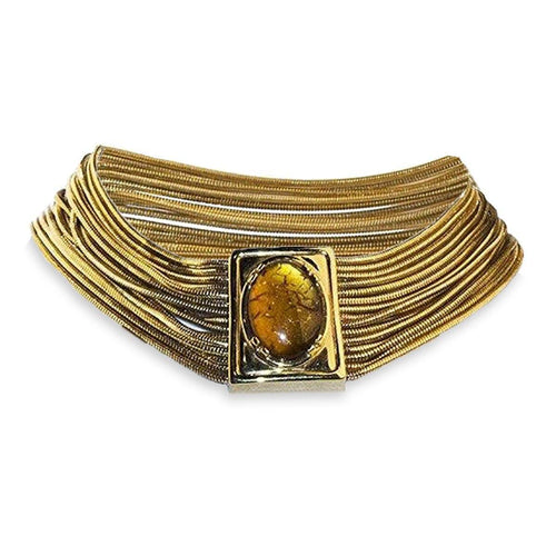 1970s Monet Amber & Gold Snake Chain Choker, Egyptian Style Necklace 7