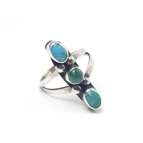 Silver & Turquoise Ring, Split Band, Size 5