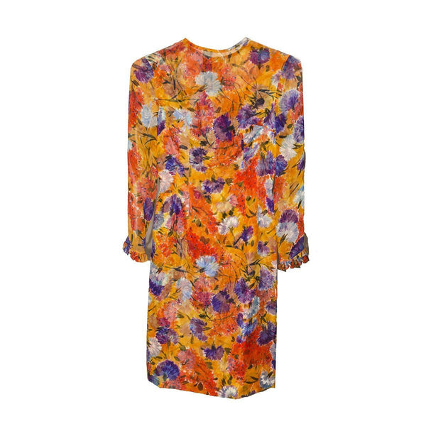 1950s Orange & Purple Floral Silk Chiffon Dress, Ruffled Sleeve, Size XXS