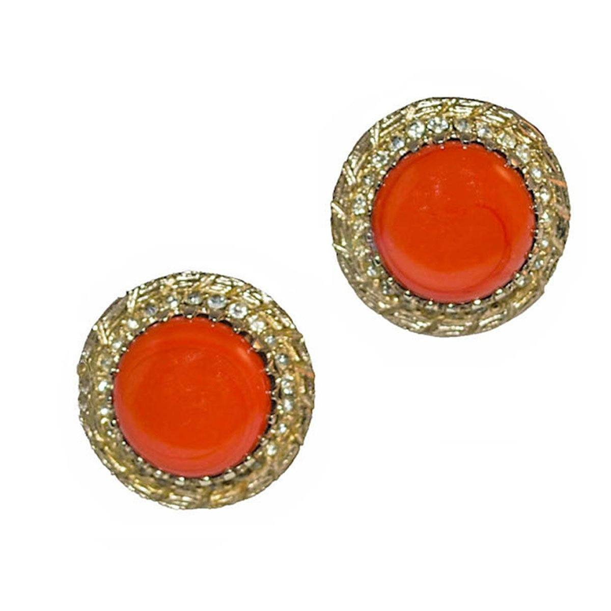 1950s Rhinestone & Orange Cabochon Button Earrings by Bergere