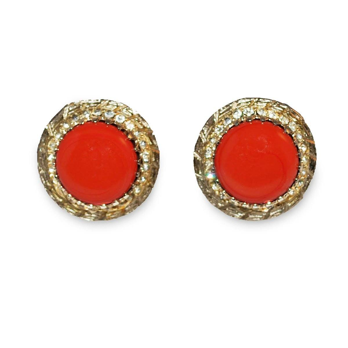 1950s Rhinestone & Orange Cabochon Button Earrings 3 by Bergere