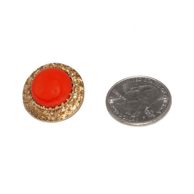 1950s Rhinestone & Orange Cabochon Button Earrings 5 by Bergere