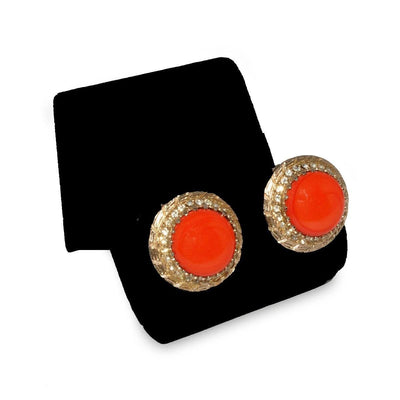 1950s Rhinestone & Orange Cabochon Button Earrings 6 by Bergere