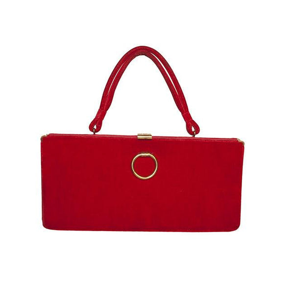 Mid Century Red Velvet Structured Handbag by Markay Bags