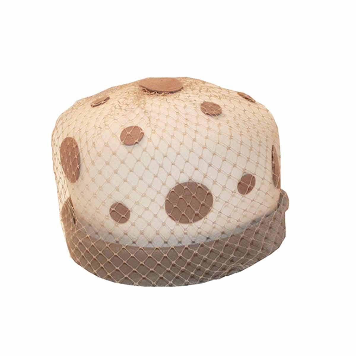 1960s Mod Polka Dot Vintage Hat in Tan & Cream, Hat Size 20.5
