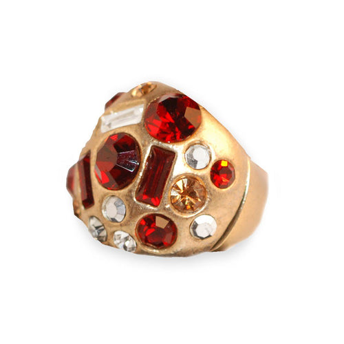 Modernist Red Rhinestone & Gold Metal Ring, Adjustable