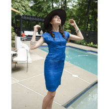 Vintage 1960s Short Sleeve Sheath Dress, Adele Martin Original, Blue Raw Silk, XXS