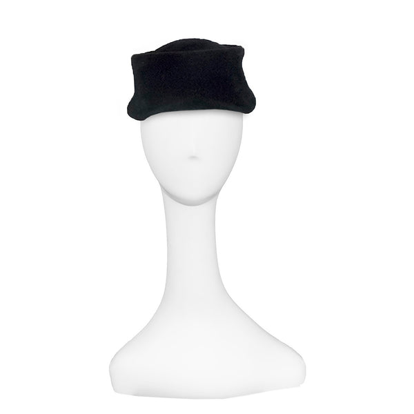 1950s Black Wool Hat by Alice May, Black Ribbon Detail