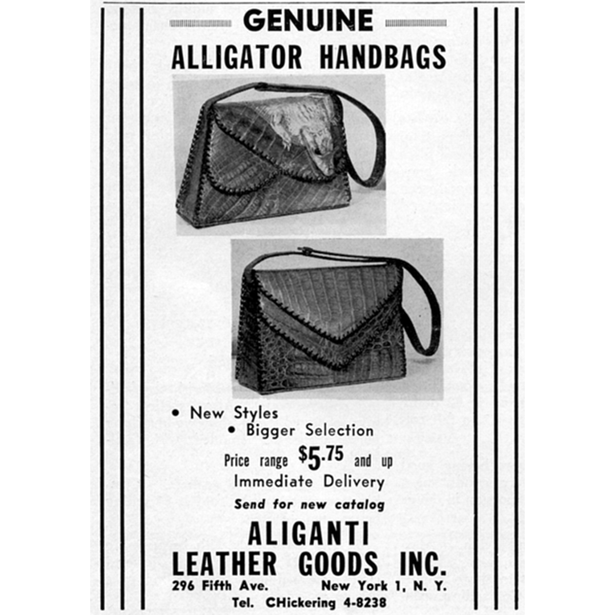Alligante Alligator Shoulder Bag vintage ad