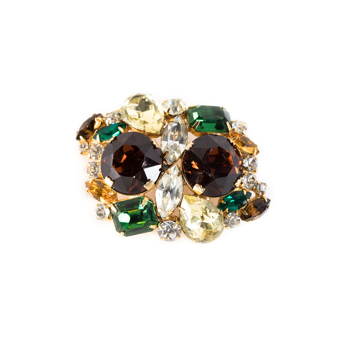 Vintage 50s Amber, Green & Clear Rhinestone Brooch, Gold Setting