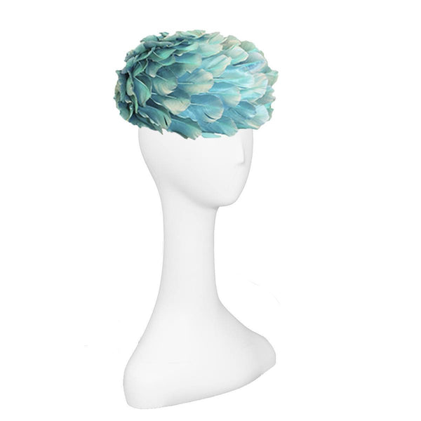 1960s Aqua All-Over-Feather Hat by Andre Denis Paris