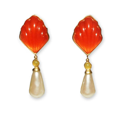 1980s Orange Lucite & Pearl Drop Earrings by Anne Klein Couture