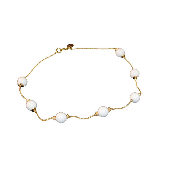 1970s Anne Klein Choker, White Enamel & Gold Metal Beads