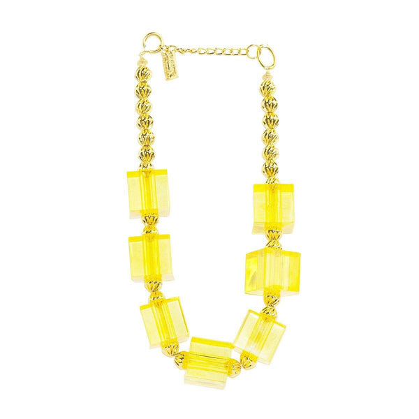 Yellow Lucite Cube Choker Necklace & Pierced Earrings by Anthony Alexander