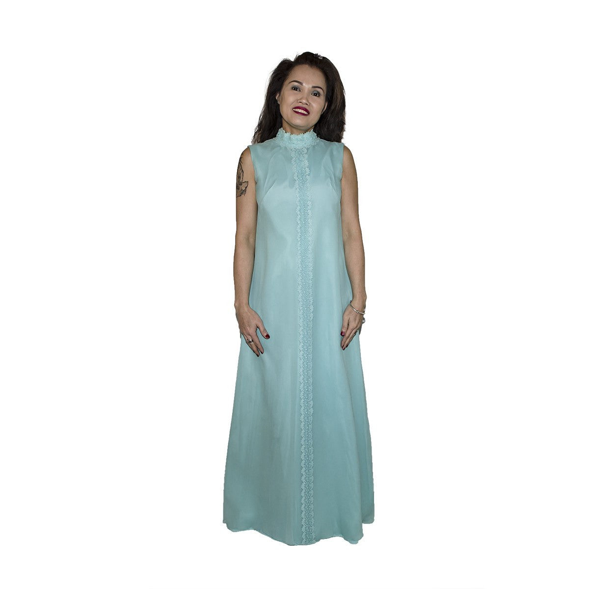 1970s Aqua Blue Column Gown 2 in Silk Chiffon & Lace