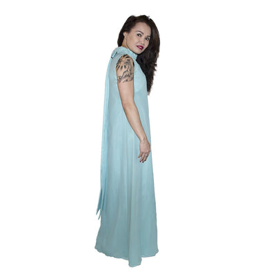 1970s Aqua Blue Column Gown 3 in Silk Chiffon & Lace