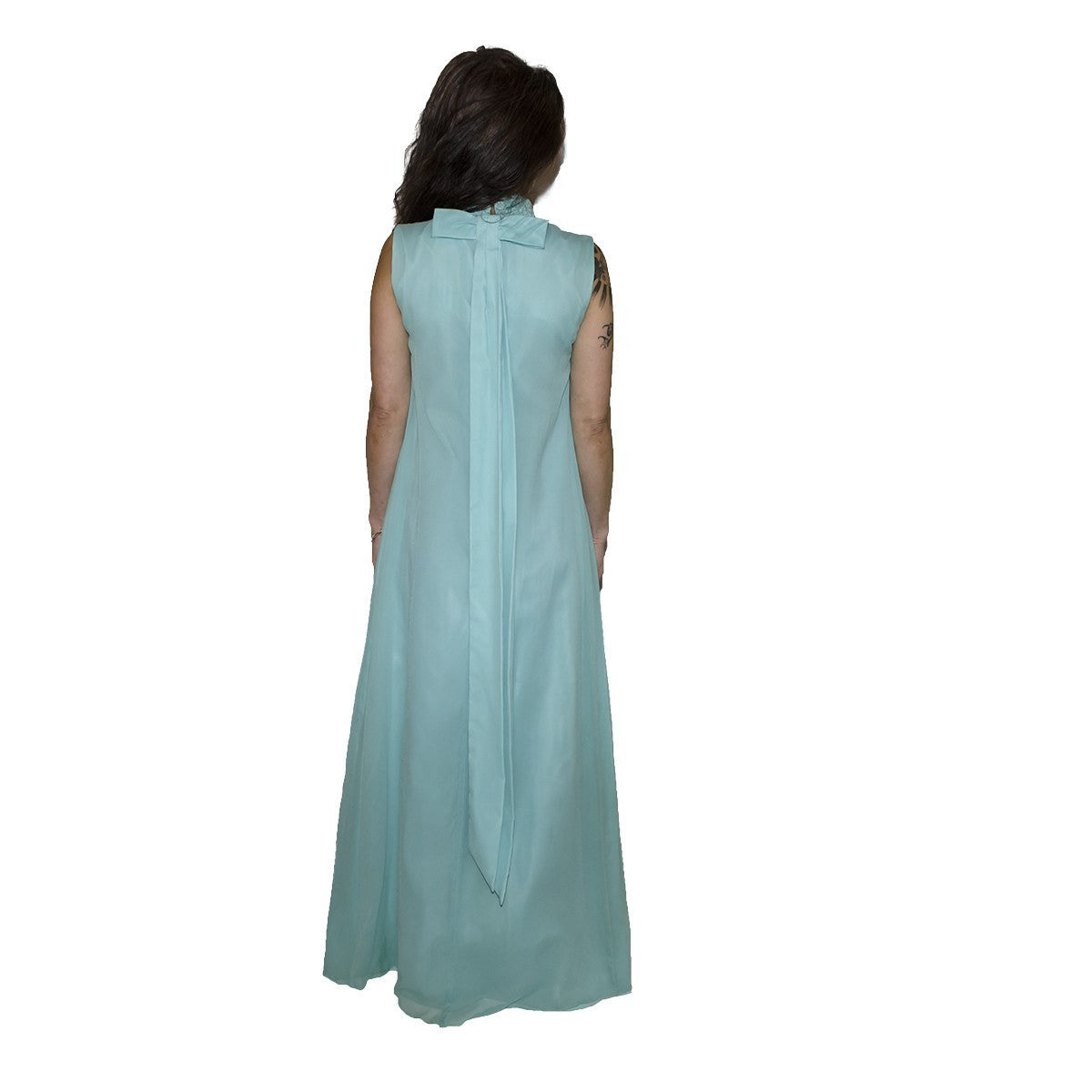 1970s Aqua Blue Column Gown 4 in Silk Chiffon & Lace