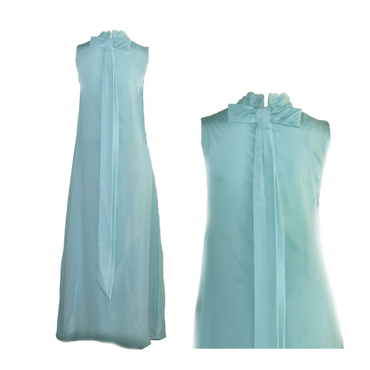 1970s aqua blue column gown 4