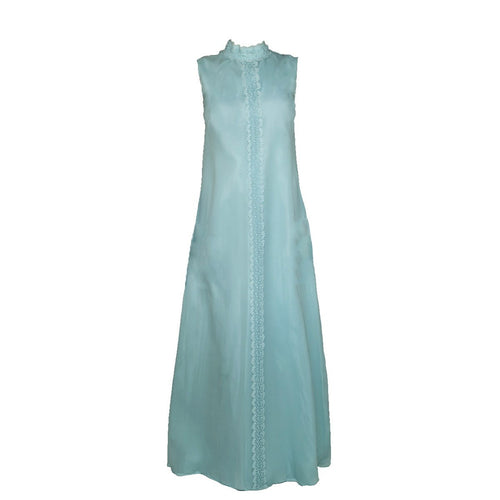 1970s Aqua Blue Column Gown in Silk Chiffon & Lace