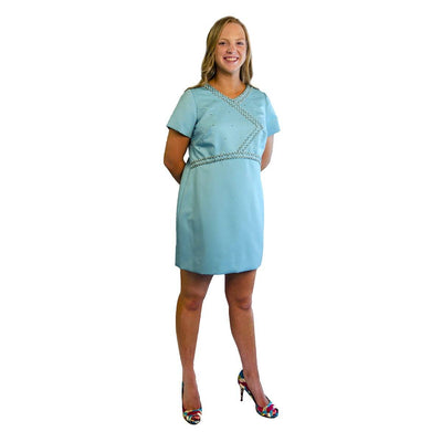 Aqua Blue Mini Dress with Decorative Beading