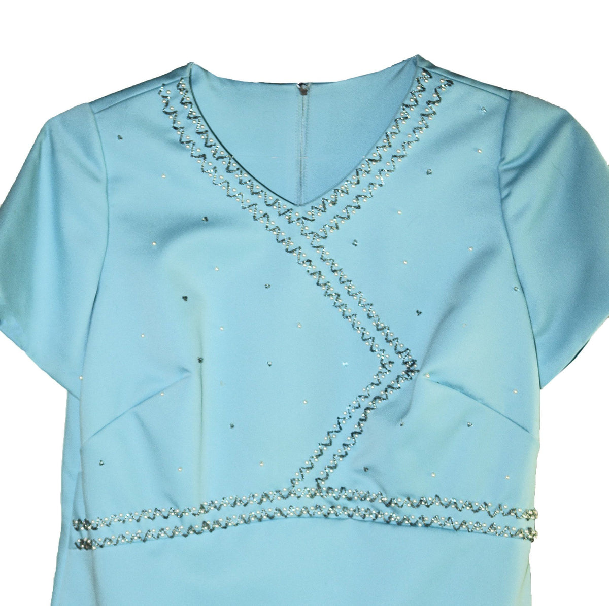 Aqua Blue Mini Dress 5 with Decorative Beading
