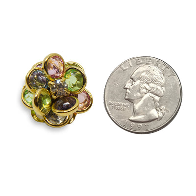 avon jewelry, gold earrings, floral ear clips flower ear clips