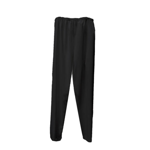 Black Straight Leg Pants, Elastic Waist, XL