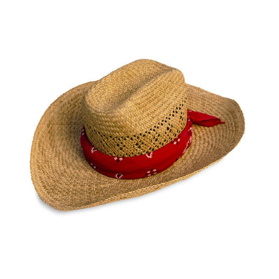 Vintage Straw Cowboy Hat with Red Bandana 2