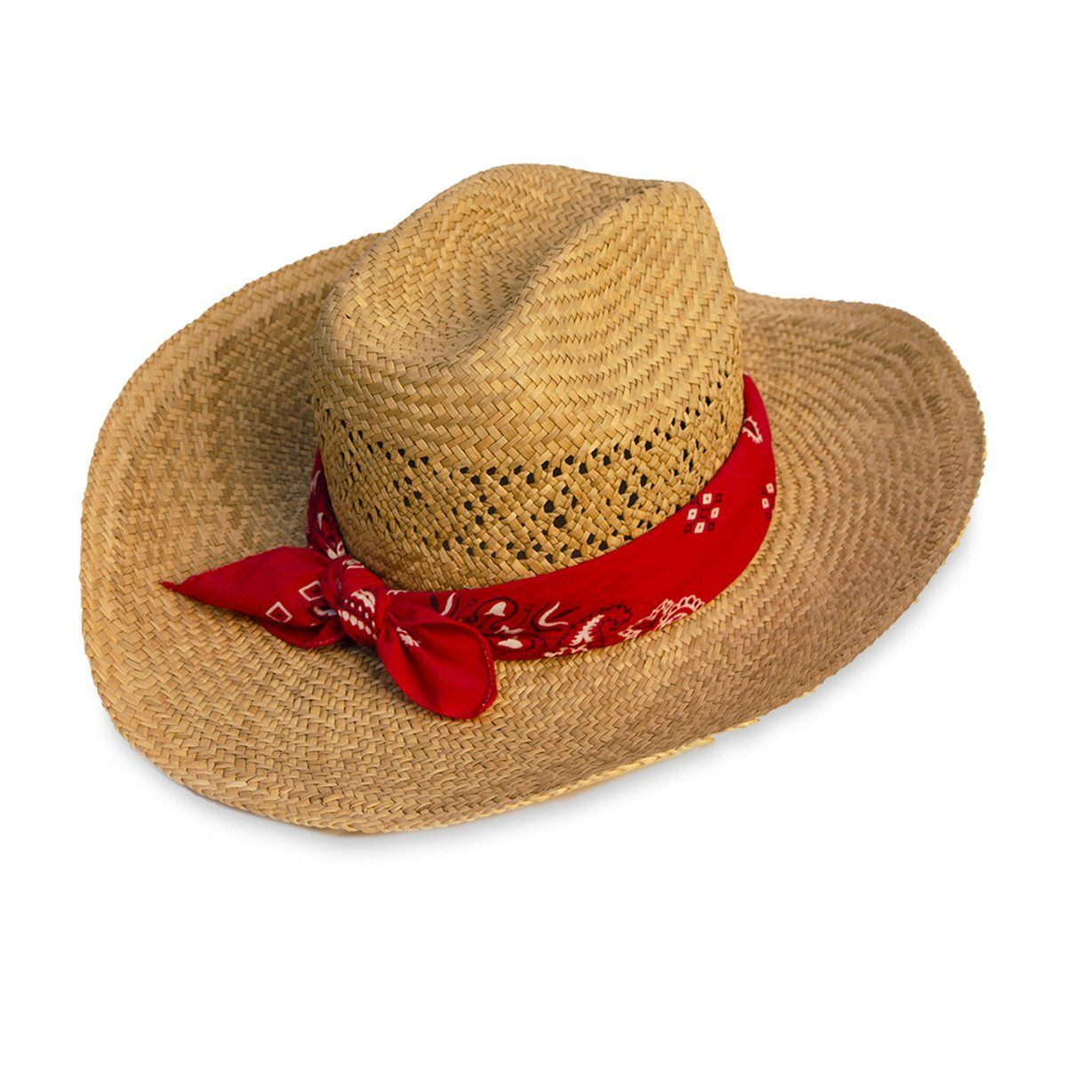 Vintage Straw Cowboy Hat with Red Bandana – MadgesHatbox Vintage 2be9c070905