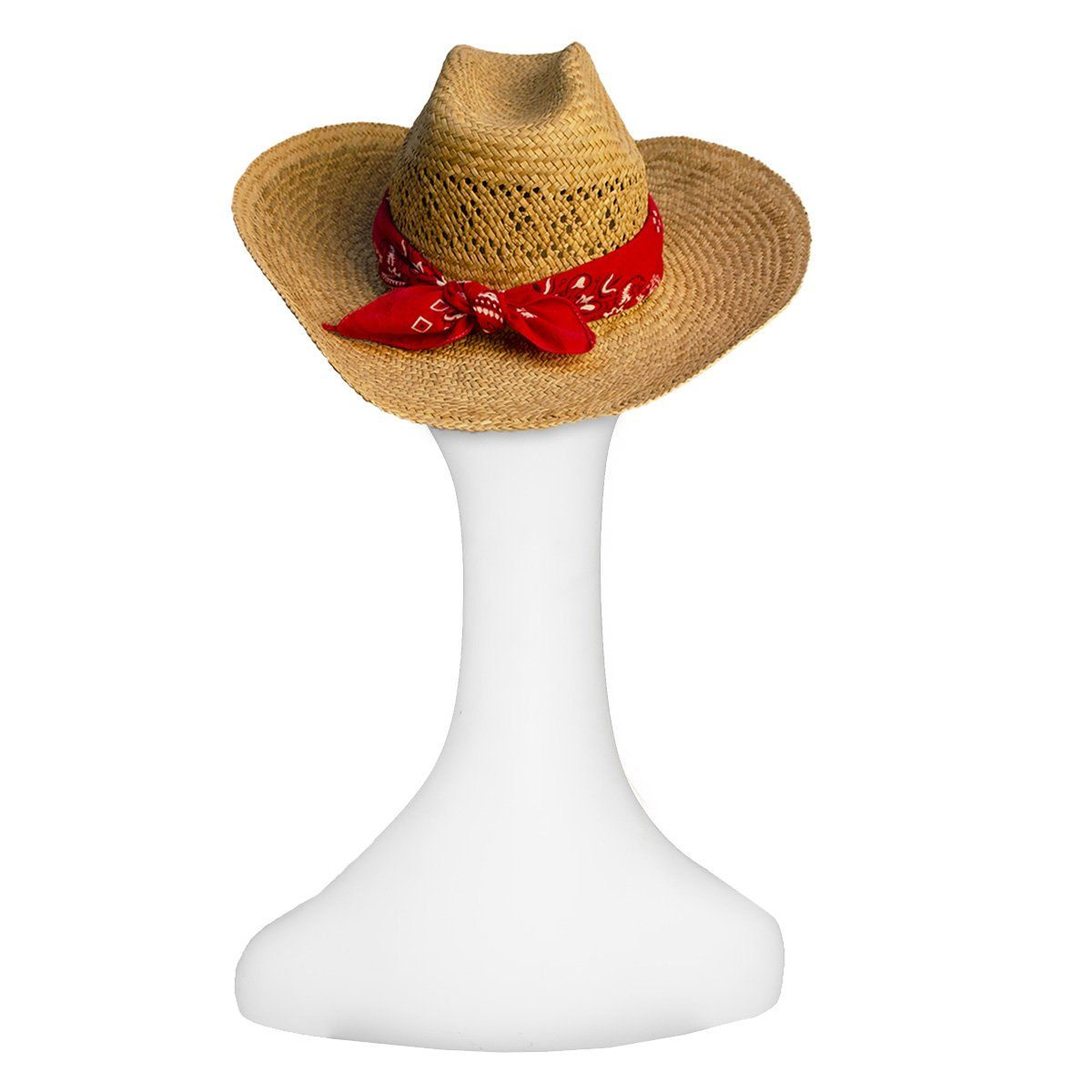 Vintage Straw Cowboy Hat with Red Bandana 4