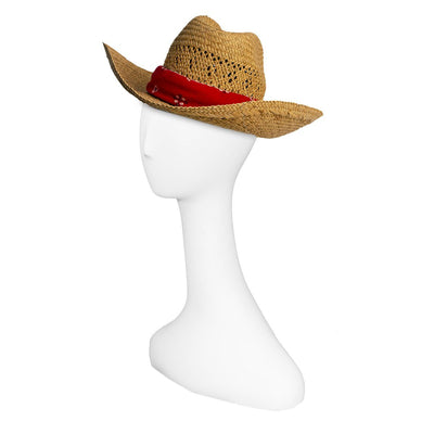 Vintage Straw Cowboy Hat with Red Bandana 3