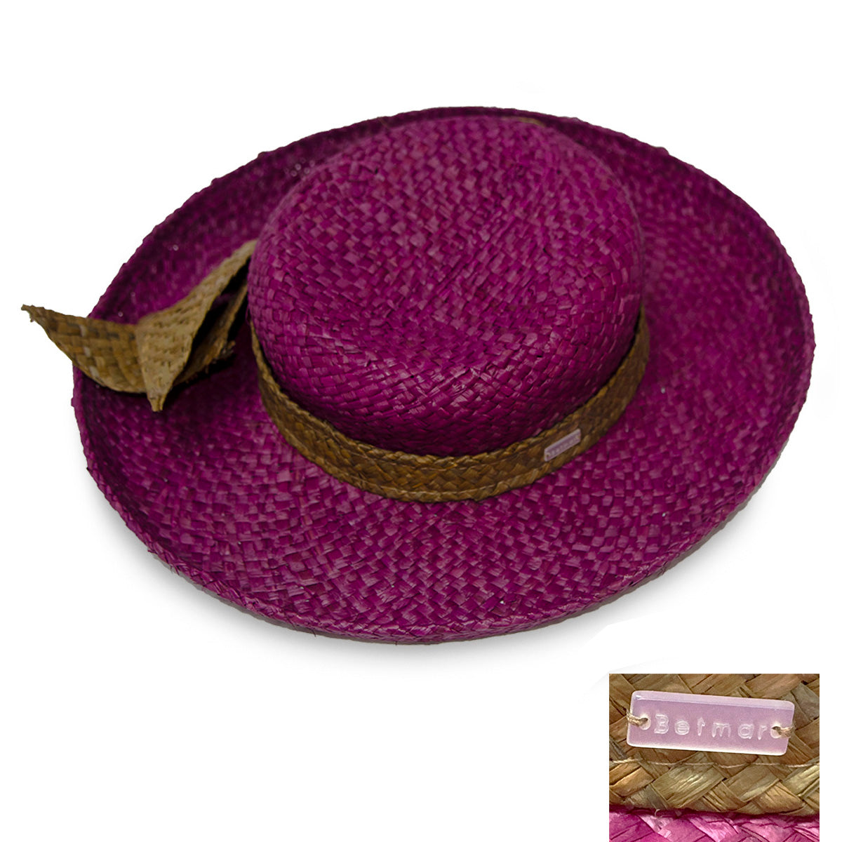 Vintage Betmar Purple Straw Wide Brim Sun Hat 2