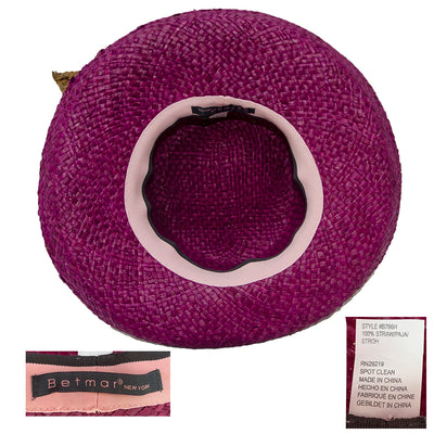 Vintage Betmar Purple Straw Wide Brim Sun Hat 7