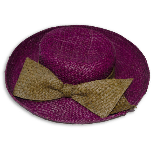 Vintage Betmar Purple Straw Wide Brim Sun Hat